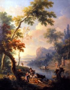 Paesaggio fluviale con personaggi