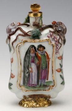 Flacone portaprofumo in porcellana dipinta